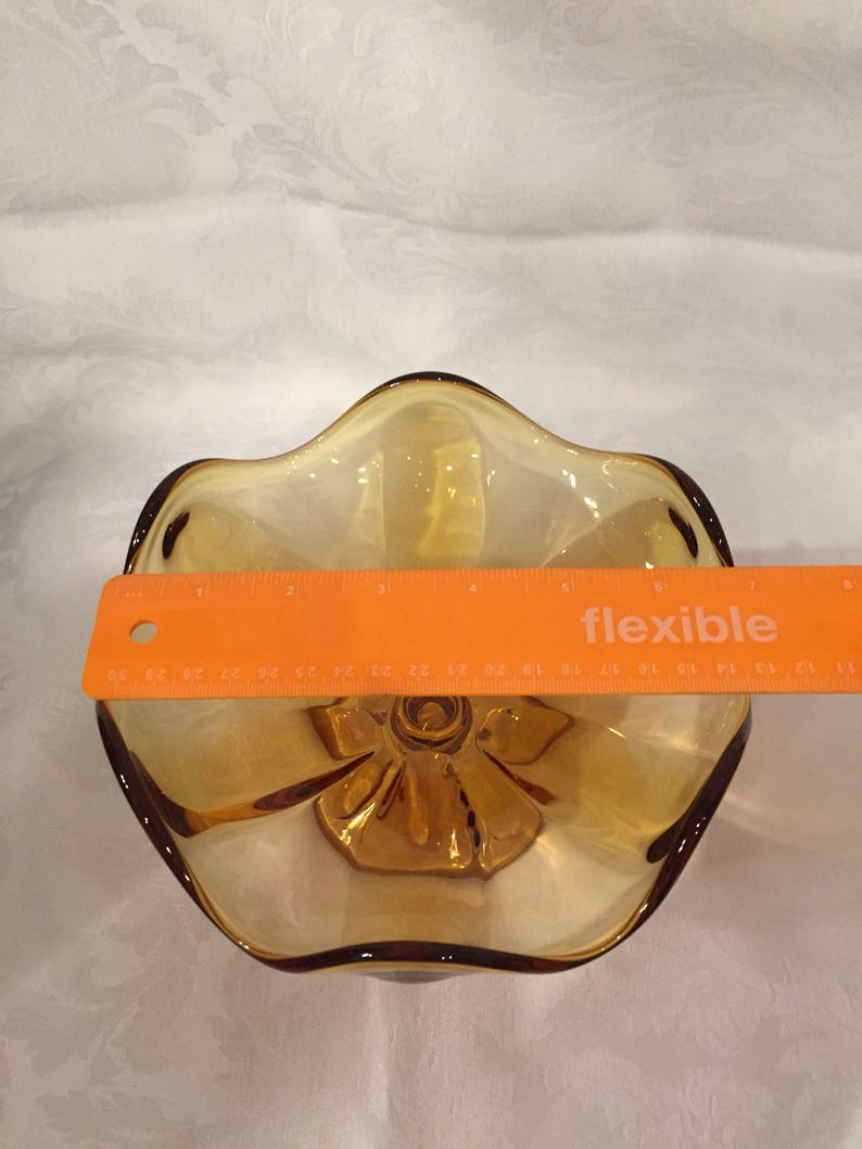 Vintage amber glass compote