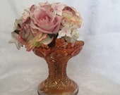 Vintage carnival glass iridescent punch bowl stand, or repurpose upside down as a vase
