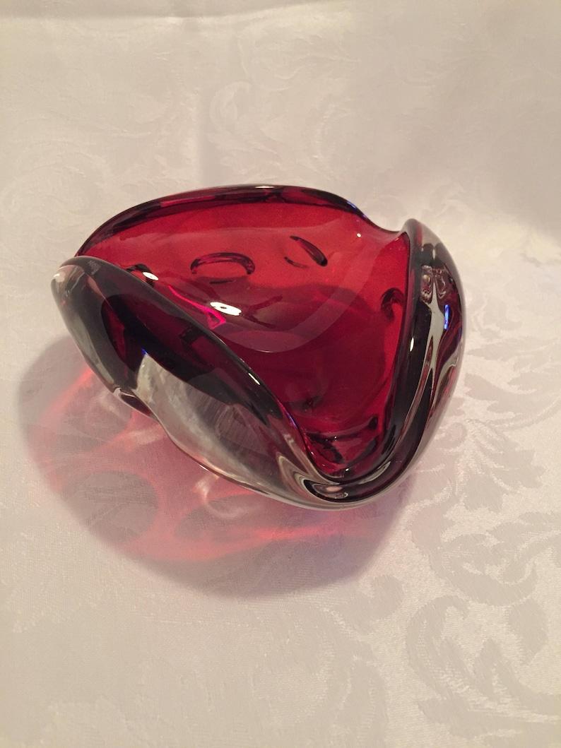 Vintage ruby red ashtray