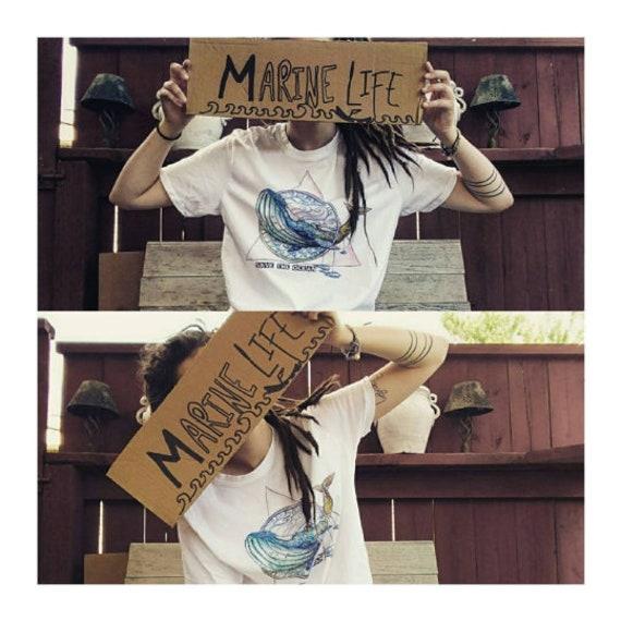 Save the ocean vegan made whale in the UK whale art shirt 100/% Organic cotton Whale Shirt