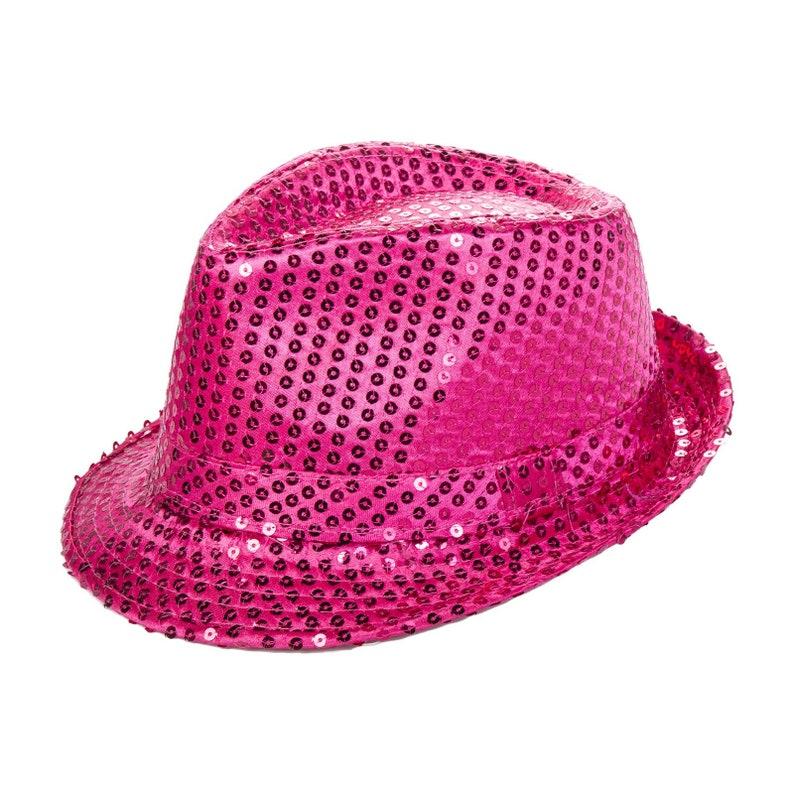 e0a2c01e4474d Hot Pink Sequin Fedora Dress Up Hat