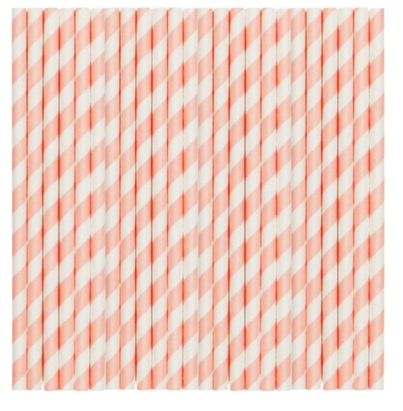 Pastel Yellow Stripe Paper Party Straws 48 pack