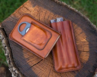 Leather Cigar Case with Removable Lid, XiKar X8 Cutter Case On Lid.