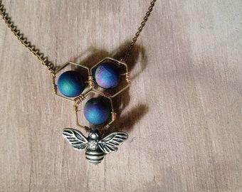 Bodacious Buzz- Bronze and Brass Titanium Druzy Bee Necklace