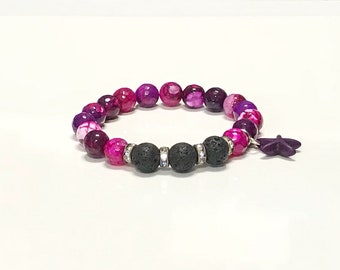 Essential oil diffuser bracelet with faceted Agate in vibrate swirls of purple.