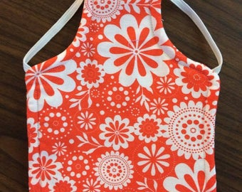 Groovy Floral Reversible Chicken Saddle - Orange