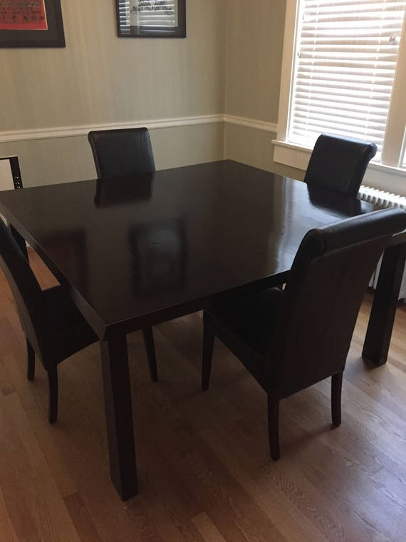 Custom made solid wood dining table and chairs