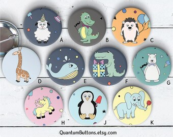 "Party Animals Button or Magnet, 1.5"" Pin-back Button Set, Party Pin, Animals Badge, Carton Animals Button, Party Favors, Party Flair 097"