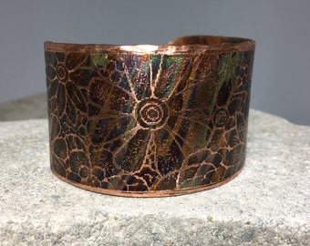 FIELD OF FLOWERS etched on copper cuff bracelet and flame painted