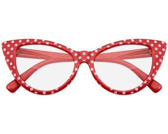 Emblem Eyewear - Polka Dot Super Cat Eye Glasses Vintage Inspired Fashion Mod Clear Lens Eyewear