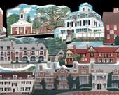 Village Set - 8 Somerset Hills Historic Wood Village Collectibles