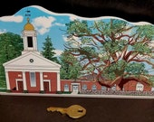 Cats' Meow Wood Painted Collectible - Basking Ridge Oak Tree and Historic Church