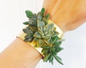 succulent bracelet   floral cuff   corsage   living jewelry