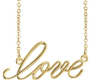 Script Love Necklace in Solid 14K White Gold, Yellow Gold, Rose Gold / Solid Gold Love Necklace (Rose Gold, White Gold, and Yellow Gold)