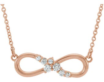 14K Gold Infinity Necklace with Diamonds, Cable Chain Necklace