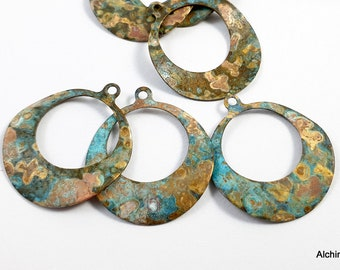 2pcs Large Earring Circle Flat Brass Charm Turquoise Patina For Jewelry Hand Maker Finding Pendant Hoop Earring Component Christmas DIY 260A