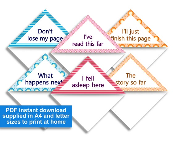 graphic relating to Corner Bookmarks Printable identified as Corner bookmarks printable PDF immediate down load 6 reserve enthusiasts words, a few shades, a few geometric behaviors, 5.5 cm / 2\