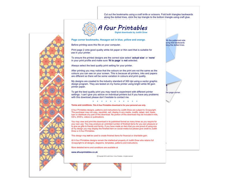 photograph relating to Corner Bookmarks Printable identify Corner bookmarks printable PDF quick down load site markers 6 geometric layouts, in just blue, yellow and orange 5.5 cm / 2\