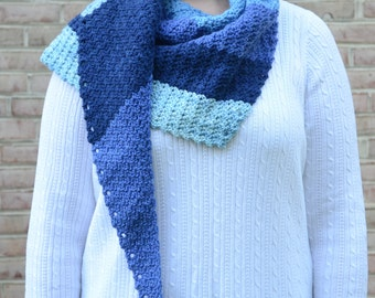 Triangle Scarf, Hand Crocheted Blue Stripes Asymmetrical Scarf/Shawl