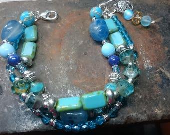 Blue Agate multi strand Mermaid bracelet