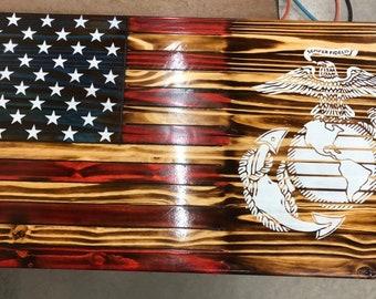 e93ea75a5e30 Marine s EGA Rustic American Flag Wall Plaque