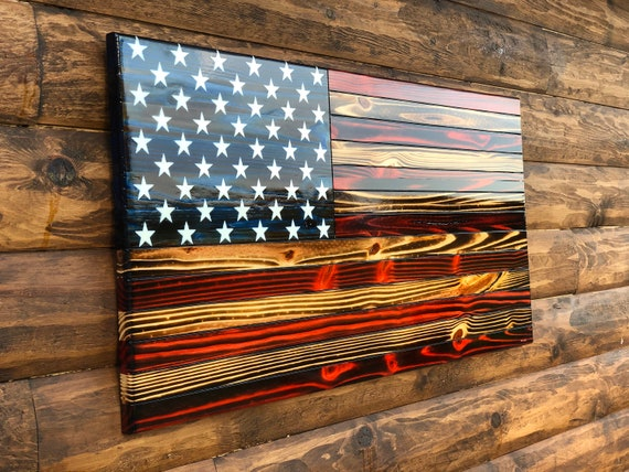 Rustic American Flag Wall Decor Rustic Wooden Color Charred Etsy
