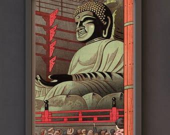 Art Print, Shin-Hanga: Big Buddha of Todaiji Temple by Takeji Asano (1953)