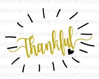 Thankful Thanksgiving SVG Clipart Cut Files Silhouette Cameo Svg for Cricut and Vinyl File cutting Digital cuts file DXF Png Pdf Eps