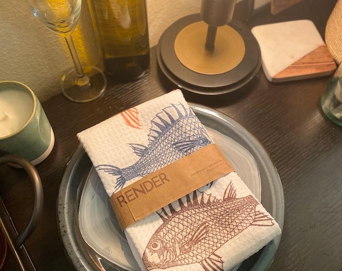 Featured listing image: Three Fish Tea Towel - Handmade Kitchen Towel Tea Towel Dish Towel - 16''x24''