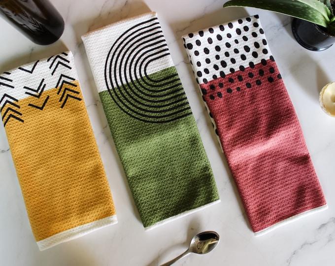 Featured listing image: Colorblock Dish Towel Trio - 3pk - Kitchen Towel Tea Towel - 16''x24''