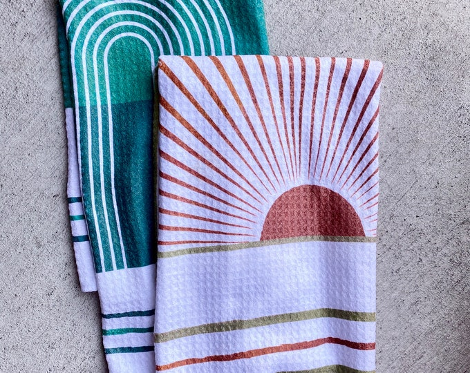 Featured listing image: Sunrise and Waterfall Twin Set - 2pk - Handmade Kitchen Towel Tea Towel Dish Towel - 16''x24'' / 41cm x 61cm