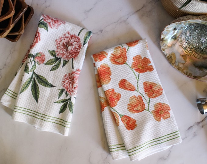 Poppy and Peony Dish Towel Twin Set - 2pk - Kitchen Towel Tea Towel Floral Flower Towel - 16''x24''