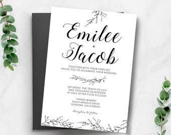 Wedding invitations etsy ca wedding invitation wedding invitation template wedding invitation printable black and white printable invite classic wedding invitation stopboris Choice Image