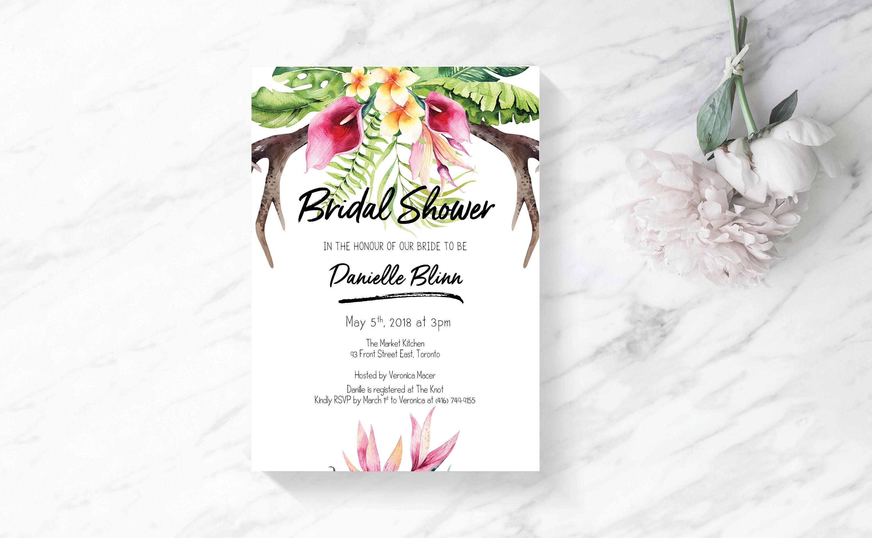 Tropical Bridal Shower Invitation Bridal Shower Invitation Boho destination Bridal Shower Invite Rustic Bridal Shower invitation template