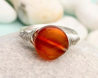 Carnelian wire ring, Carnelian wire wrapped ring, Quartz ring, Silver wire ring, Gemstone ring, Orange stone ring, Carnelian Stone ring
