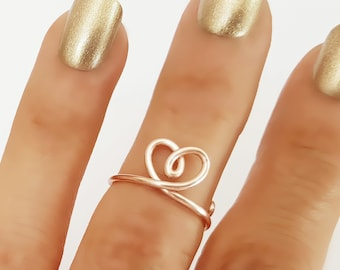 Heart Knuckle Ring, Midi Ring, Rose Gold Heart Ring, Open Ring, Knuckle Ring, Bridesmaids Gifts, Heart Ring, Adjustable Ring, Simple Ring