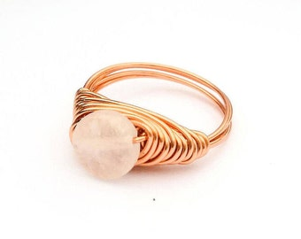Rose Quartz wire wrapped ring, Copper wire ring, Rose Quartz gemstone ring, Pink stone ring, Wire wrapped ring, Quartz stone ring, Love ring