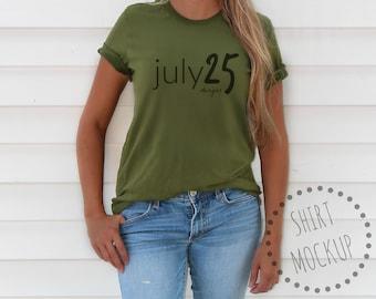 Download Free Bella Canvas 3001 MOCKUP tee shirt - Model Mockup - Unisex T-Shirt - 3001 - Olive - Fall Mockup - Green - Digital Download - Flatlay PSD Template