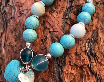 Sea Glass Turquoise Love Bracelet