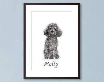aaa89d2bc677 Personalised Black Poodle Dog Portrait, Watercolour Painting Print Grey  Poolde Art, Personalised Dog Portrait Name Print, Dog Wall Art Gift