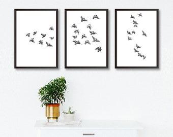 92b319f08e0 SET Of 3 Bird Art Prints - Birds Art Nature Print Gallery Print Set  Illustration Bird Print Set Black And White Poster Monochrome Art Print
