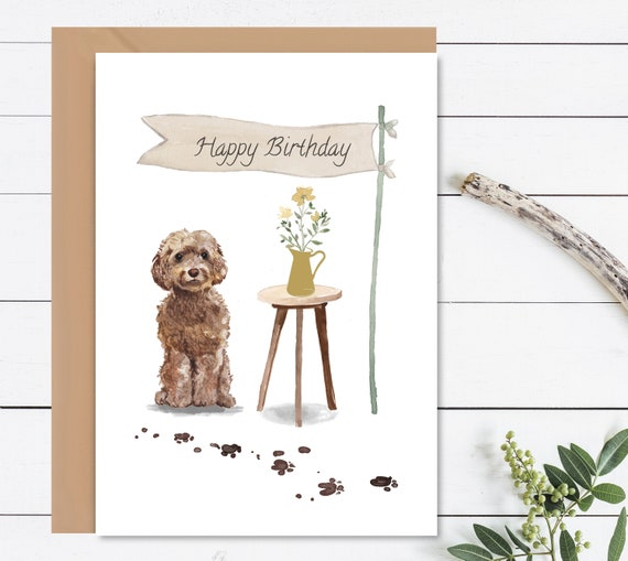 HAPPY BIRTHDAY Card Cockapoo Birthday Dog Gift For Lovers Pet Owners With Envelope