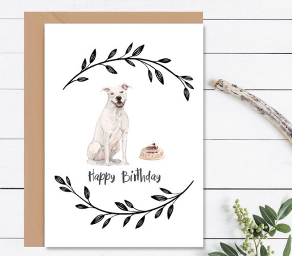 HAPPY BIRTHDAY Card American Staffordshire Terrier Dog
