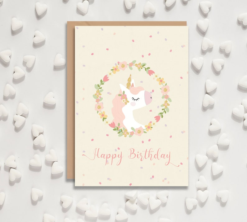 HAPPY BIRTHDAY Unicorn Card Childrens Birthday