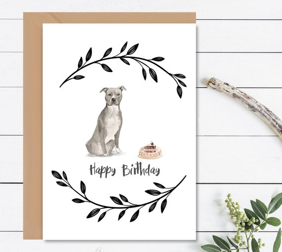 HAPPY BIRTHDAY Card Dog Birthday Staffordshire Terrier