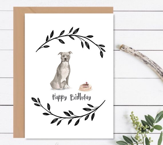 HAPPY BIRTHDAY Card American Staffordshire Dog Birthday