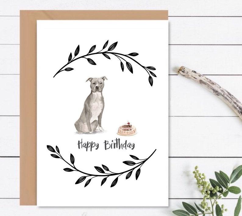 HAPPY BIRTHDAY Card American Staffordshire Dog Birthday