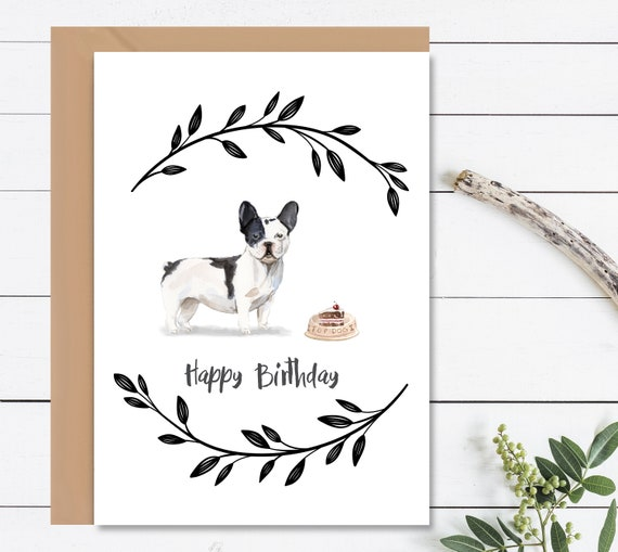 HAPPY BIRTHDAY Card French Bulldog Dog Birthday Bull Cards Gift For Lovers Watercolour Envelope