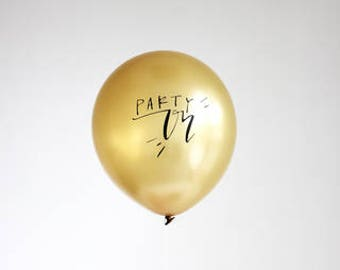 Gold BALLOONS, Calligraphy Party On Balloons