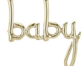 """Baby Shower Balloon, White Gold Script """"BABY"""" BALLOON"""
